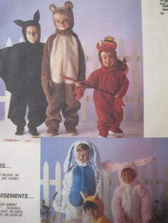 vintage mccalls 3884 sewing pattern costume children halloween pattern animals devil bat bunny bear vintage size medium 550 via etsy