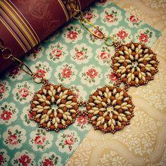 Beaded necklace with superduo beads #jaumanna #Beaded #beading #beads…