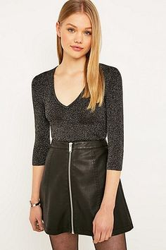 Urban Outfitters Lurex V-Neck Jumper