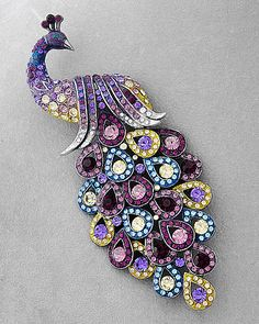Tiffany Style Peacock brooch/ pin -- Swarovski Ab crystals -- blue, purple, yellow.