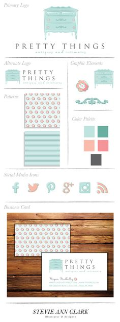 Hand Drawn Branding Package by StevieAnnClark -- Dresser illustration, Furniture logo, Vintage, Branding, Business Cards, Social Media Icons, Patterns, Hand drawn graphic design, Teal, Blue, Pink, White