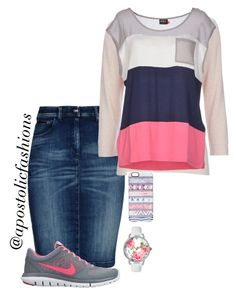 A fashion look from February 2016 featuring ONLY t-shirts, Wallis sweaters and Armani Jeans skirts. Browse and shop related looks. Modest Casual Outfits, Cute Skirt Outfits, Cool Outfits, Woman Outfits, Modesty Fashion, Women's Fashion Dresses, Skirt Fashion, Apostolic Fashion, Apostolic Clothing