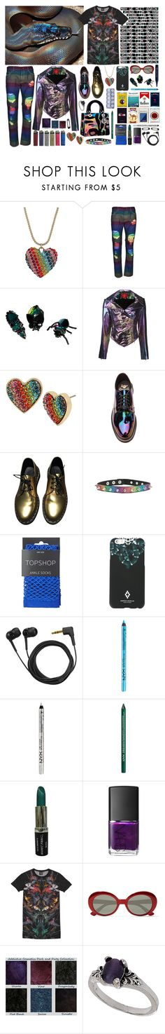 """""""you feel amazing, you feel strong"""" by nothingisnormal ❤ liked on Polyvore featuring Betsey Johnson, Palm Angels, Dsquared2, Vivienne Westwood Red Label, Dr. Martens, Topshop, County Of Milan, Sennheiser, NYX and NARS Cosmetics"""