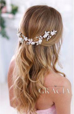DEMETRA Crystal Flower Bridal Hair Piece by TopGracia #topgraciawedding #bridalhair #bridalhairflowers #weddingheadpiece #bridalheadpiece #rhinestoneheadpiece #promheadpiece