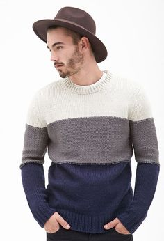 Knitting Patterns Men Jersey Color-Block - Sweaters and cardigans - 2000137353 - Forever 21 EU Mens Fashion Sweaters, Sweater Fashion, Sweater Outfits, Men Sweater, Mens Knit Sweater Pattern, Fashion Rings, Fashion Fashion, Handgestrickte Pullover, 21 Men