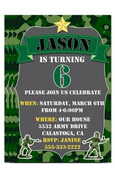 Personalized Camo Themed Birthday Party Invitations - Army - Mili | Personalized Gifts Like Shirts and Decals