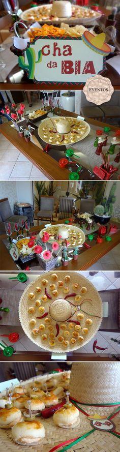 chá de cozinha temático / chá mexicano / papelaria mexicana / mini lanchinhos