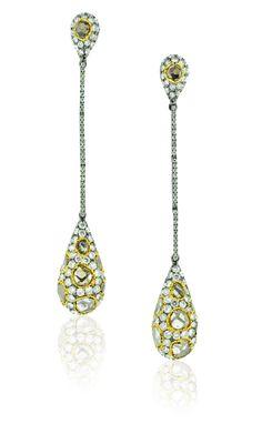 L' Dezen Jewellery Bouche Long Drop Black Rhodium Gold Slice Diamond & White Diamond Earrings