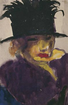 dappledwithshadow: Young Woman in a Hat, Emil Nolde 1918