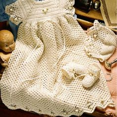 Crocheted Pattern baby Christening, Baptism, Blessing Dress Gown on CrochetSquare.com