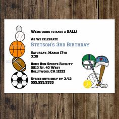 Sports Balls Birthday Party Invitations /  UPRINT / Printable digital file / print at home / print your own on Etsy, $12.00