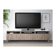 BESTÅ TV unit with drawers - Lappviken gray stained walnut eff clear glass, drawer runner, push-open - IKEA