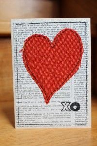 Make your own cards - this one uses newspaper and a scrap of fabric. You'll get brownie points for going the extra mile.