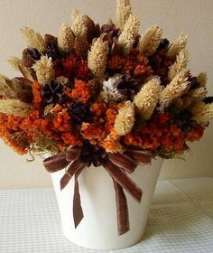 Charming Fall arrangement - dried flowers in fall colors in white pot with brown velvet bow! Dried Flower Arrangements, Fall Arrangements, Floral Arrangement, Fall Flowers, Dried Flowers, Autumn Decorating, Fall Harvest, Autumn Fall, Fall Wreaths