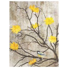 Bird perched on a blossoming branch canvas art