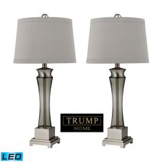 Trump Home Onassis LED Table Lamps in Nickel Finish - Set of 2 D2339/s2-LED