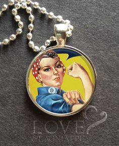 ROSIE THE RIVETER Pendant GIRL POWER Glass necklace jewelry empowerment 1in diam