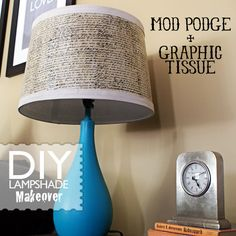 she mod podged tissue onto a lampshade. i'm totally in love. the lampshades in our bedroom are a bit too naked for my taste.