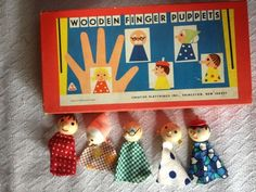 Creative Playthings Inc Wooden Finger Puppets Lola Toys Czechoslovakia Vintage
