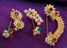 Essential guide for a bride to best traditional maharashtrian jewellery. Latest designs of ornamnets like Vajratik, kolhapuri saj ,nath have been showcased India Jewelry, Unique Jewelry, Jewelry Design, Gold Jewellery, Silver Jewelry, Stylish Jewelry, Ethnic Jewelry, Nose Pin Indian, Nath Nose Ring