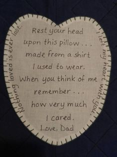 Individual Heart Patch for Memory Pillow image 0 Fabric Crafts, Sewing Crafts, Sewing Projects, Sewing Diy, Diy Projects, Diy Crafts, Memory Pillows, Memory Quilts, Memory Pillow From Shirt
