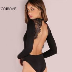 COLROVIE Backless Lace Patchwork Bodysuit >>Shop now<< #fashiontoppicks #fashion #fashions #style #trending #ootd #fashionistas #fashionista #fashionable #fashionandstyle #fashionkilla #womensfashion #backless #lace #bodysuit #black #sexy #summer #party