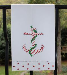 Nautical Anchor Christmas Guest Towel by LemondaisyDesign on Etsy