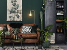 Modern Scandinavian Living Room with Green Walls and Interior and Brown Leather Sofa Brown And Green Living Room, Brown Leather Couch Living Room, Dark Living Rooms, Green Rooms, Rugs In Living Room, Living Room Interior, Living Room Designs, Brown Couch, Living Room Wallpaper With Brown Sofa