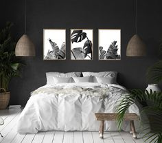 Black and White Wall art Tropical Leaf Prints Set of 3 Prints Minimalist art Nordic Prints Palm Leaf Monstera Leaf Boho Home Decor Black Accent Walls, Black Walls, White Walls, Tropical Bedrooms, Accent Wall Bedroom, Bedroom Art Above Bed, White Bedroom Design, White Bedroom Decor, Bedroom Country
