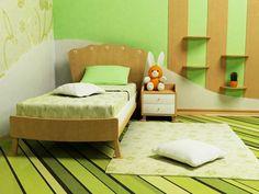 Grüne Schlafzimmer für Kinder mit gestreiften grünen Fußboden und Wände mit natürlichen Holz Einzelbett