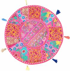 """18"""" Round Floor Pillow Cushion Round Seating Bohemian Patchwork Pillow Cover #Handmade #Ethnic"""