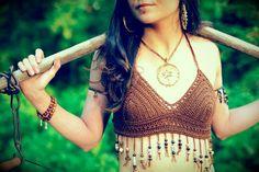 Beaded Brass Spiderweb Hoop Necklace  Handmade by DidikaiDesigns