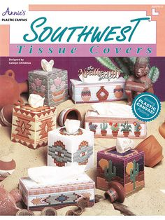 Easy long stitches and rich, vibrant desert colors combine to make Southwestern-style tissue covers the perfect way to spice up the decor in your home or office. Vibrant geometrics and images  - Plastic Canvas Patterns (aff link)