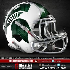 """From """"Deeyung Entertainment College Football Helmet Designs"""" story by… Cool Football Helmets, Football Helmet Design, Sports Helmet, College Football Uniforms, College Football Players, Michigan State Football, Nfl Football Teams, American Football, Sports"""