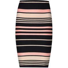 Miss Selfridge Stripe Rib Skirt (€40) ❤ liked on Polyvore featuring skirts, slim skirt, multicolor skirt, slip skirt, slimming slip and colorful skirts