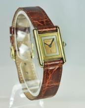 Original Les Must de Cartier Lady's Vermeil Tri-Gold Tank Wristwatch