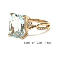 LoveCushion Aquamarine Engagement Ring Pave Diamond Wedding Rose - Lord of Gem Rings - 2 - June 15 2019 at Engagement Ring Buying Guide, Perfect Engagement Ring, Vintage Engagement Rings, Aquamarine Jewelry, Silver Jewelry, Walmart Jewelry, Beautiful Rings, At Least, Jewelry Design