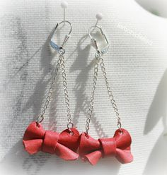 orecchini fiocco in pelle rosso