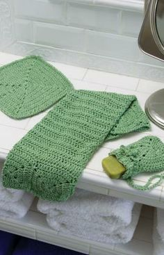 Crochet Eco-Chic Bath set. New Red Heart Eco Cotton creates a lovely set of bathroom accessories in easy crochet stitches.