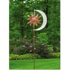 Product Image For Kinetic Garden Art   Celestial Sun Moon Garden Spinner  Stake