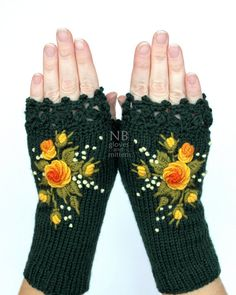 Turquoise Gloves With Yellow Roses Knitted Fingerless Gloves Embroidery Gloves & Mittens Reward Concepts For Her Winter Equipment Girls Green Gloves, Orange Gloves, Rose Orange, Yellow Roses, Orange Yellow, Jaune Orange, Red Roses, Crochet Mittens, Crochet Gloves