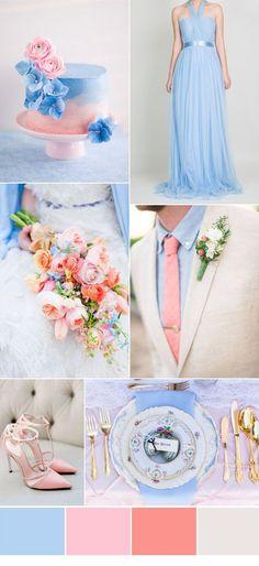 Decoração de Casamentos. Paleta de Cores tons de Rosa e Azul - Wedding