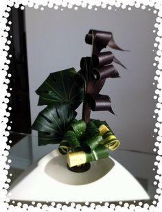 Aug 2,12 ~ Fastsia, Cordyline, Varigated Aspidistra & Milkyway Aspidistra.  Design #2.