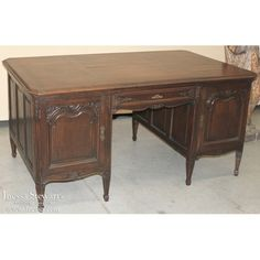 Circa early to mid-1900s Measures 31H x 64W x 35D ~ kneehole 24H x 24W Country French Oak Desk   www.inessa.com