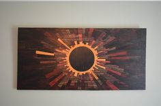 The latest Venusian Eclipse - modern wooden wall art with a rustic flair by stains and grains