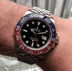 "A Hands-On Review of the Rolex GMT-Master II ""Pepsi"" Ref. 126710 BLRO | WatchTime - USA's No.1 Watch Magazine Pepsi, Coke, Rolex Batman, Rolex Cellini, Rolex Air King, Watch The Originals, Rolex Logo, Rolex Gmt Master, Dream Watches"