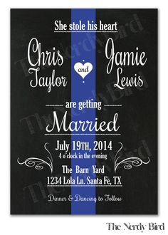 Items similar to Thin Blue Line Design with Chalkboard Background Printable Wedding Invitation and Matching RSVP Card on Etsy – The Best Ideas The Office Wedding, Police Wedding, Cute Wedding Ideas, Perfect Wedding, Dream Wedding, Wedding Stuff, Wedding Tips, Printable Wedding Invitations, Invitation Design