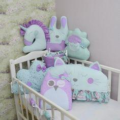 Crib bumpers - Crib bedding set - Baby bed bumper - Crib bedding Crib Bumper Set, Bed Bumpers, Cat And Cloud, Cloud Pillow, Lilac Color, Crib Bedding Sets, Animal Pillows, Cribs, Toddler Bed