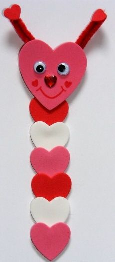 valentine foam craft for kids  | Make this loveworm bookmark craft for kids for Valentines Day - hes ...