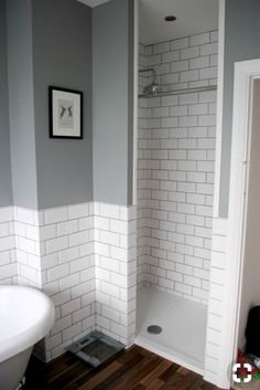 Beautiful gray and white bathroom ideas for 2020 stylish color combinations 18 – Diy Bathroom Remodel İdeas Wet Rooms, Downstairs Bathroom, Master Bathroom, Bathroom Grey, Bathroom Subway Tiles, Tiled Bathrooms, Bathroom Vanities, Bathroom Bin, Small Bathrooms